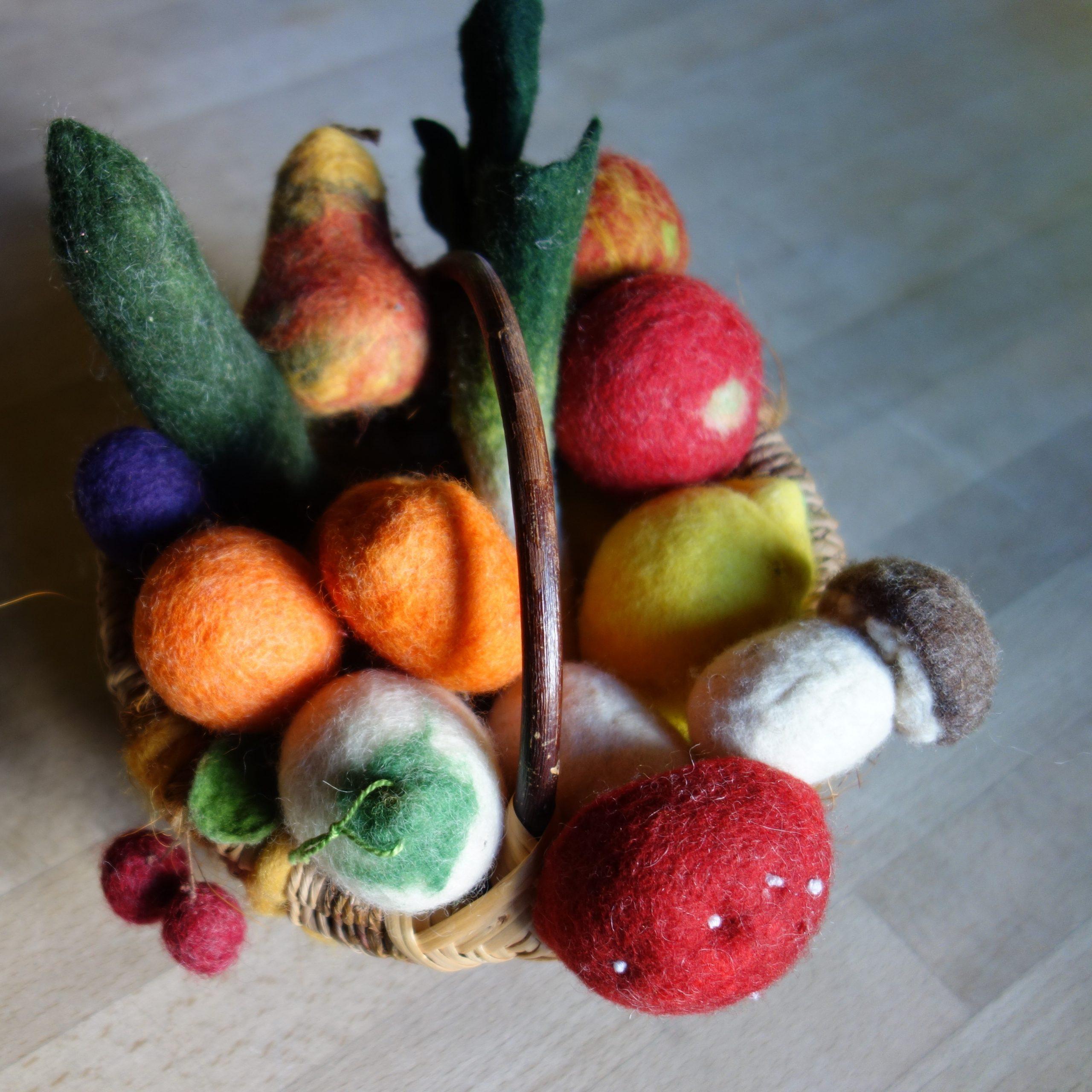 Filzen von Obst und Gemüse